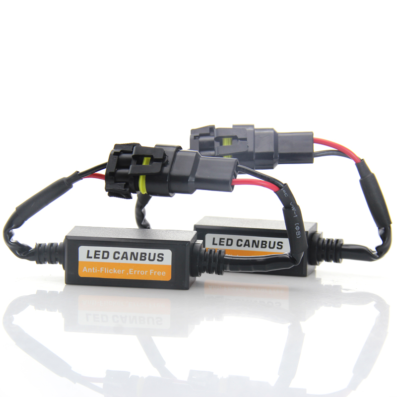 <font><b>H7</b></font> <font><b>LED</b></font> Headlight Decoder <font><b>CAN</b></font>-<font><b>BUS</b></font> EMC Warning Canceller Capacitor Anti-flicker Resistor harness Canbus Error Free Plug & Play image