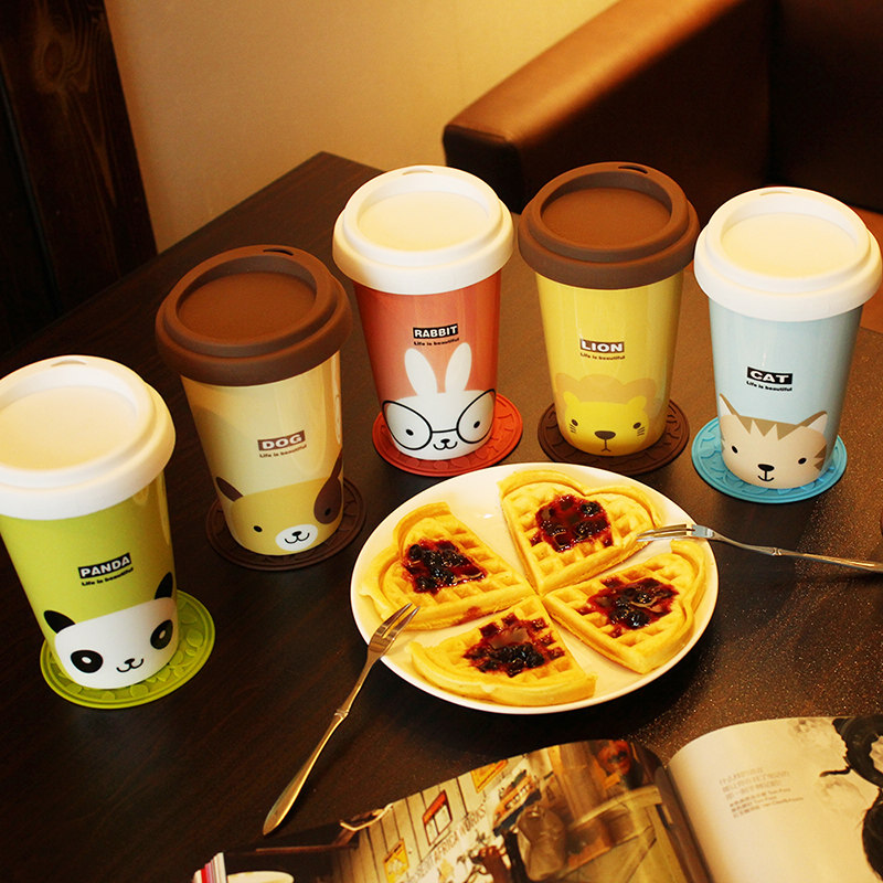 New creative ceramic coffee mug love cartoon lovers Mug lid office water Gift
