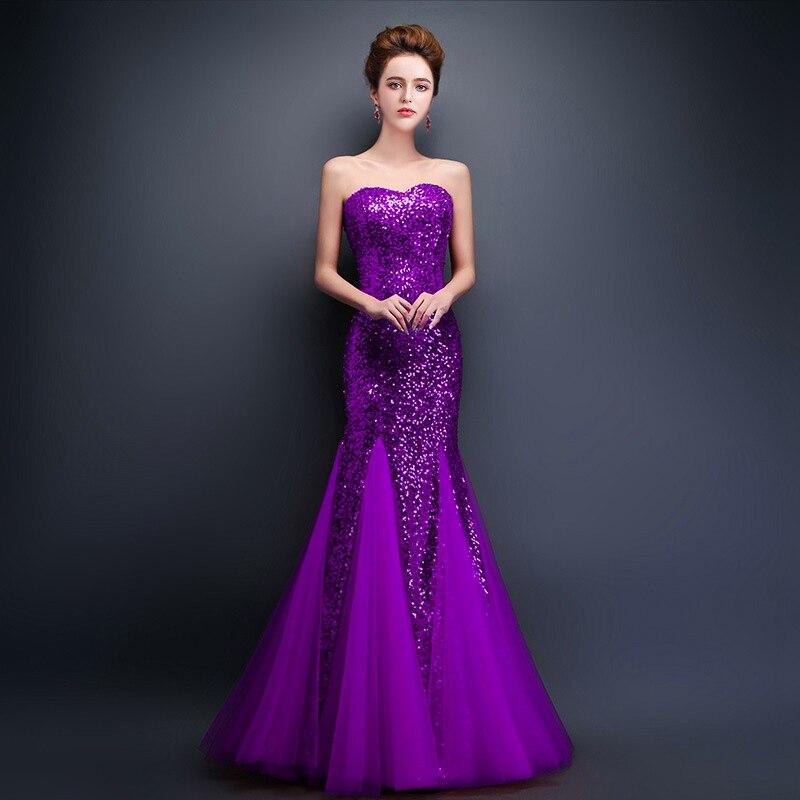 CEEWHY платья с открытыми плечами Пол Длина Длинные вечерние платья sequinated Выпускные платья платье с русалочкой элегантные вечерние платья Robe de Soiree - Цвет: purple