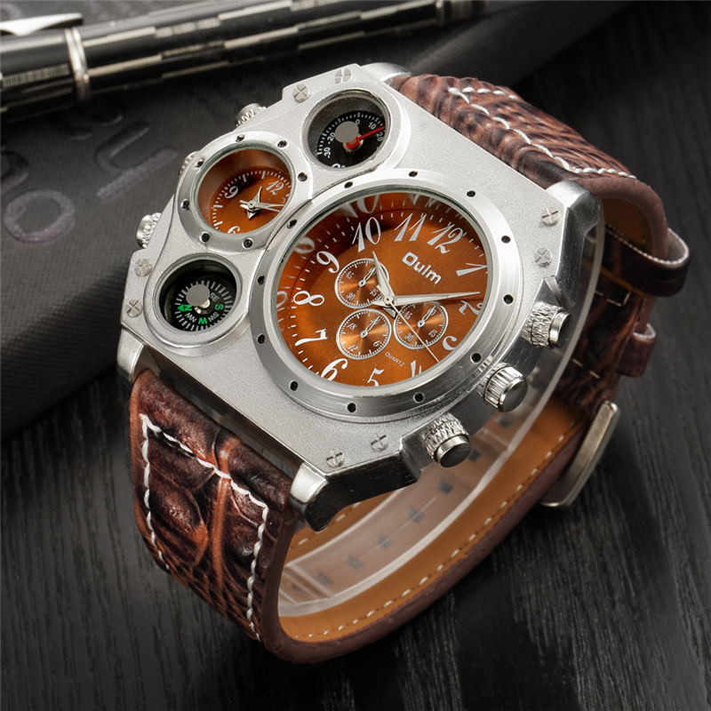 Oulm Large Big Dial Luxury Design Mens Sports Watches Male Quartz Watch Unique Leather Strap Wristwatch relogio esportivo oulm 3548 authentic mens 5 5cm large dial watches leather band dual time japan movt quartz watch relogio masculino grande marca