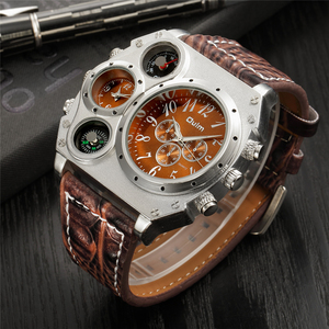 Image 4 - Oulm ビッグダイヤル高級メンズスポーツ腕時計男性クォーツ時計 Pu レザーストラップ腕時計 relogios masculino esportivo