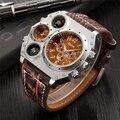 Oulm gran dial grande de lujo de diseño hombres deportes relojes hombre reloj de cuarzo único correa de cuero reloj de pulsera relogio esportivo