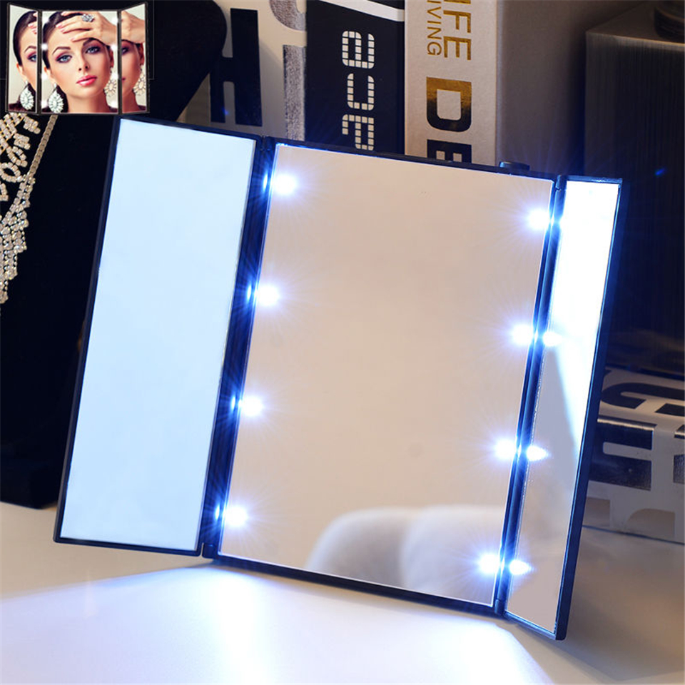 Foldable Tri Sided Lighted Beauty Vanity Led Makeup