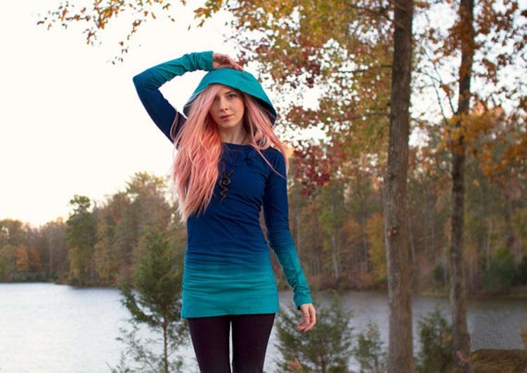 Fashion Womens Tie Dye T Shirt Long Sleeve Hoodie T Shirts -9150