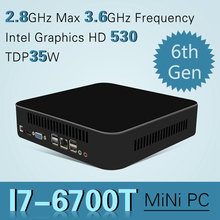 Intel Quad-core I7 6700 Mini PC Windows 10 Настольный Компьютер Pocket PC Nettop barebone системы Skylake HD530 Графика 4 К 300 М wi-fi