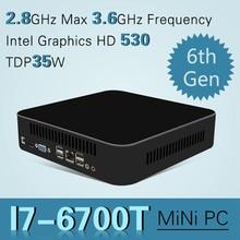 Intel I7 Quad-core 6700 Mini PC Windows 10 Ordenador de Sobremesa Pocket PC sistema barebone Nettop Skylake HD530 Gráficos 4 K 300 M WiFi