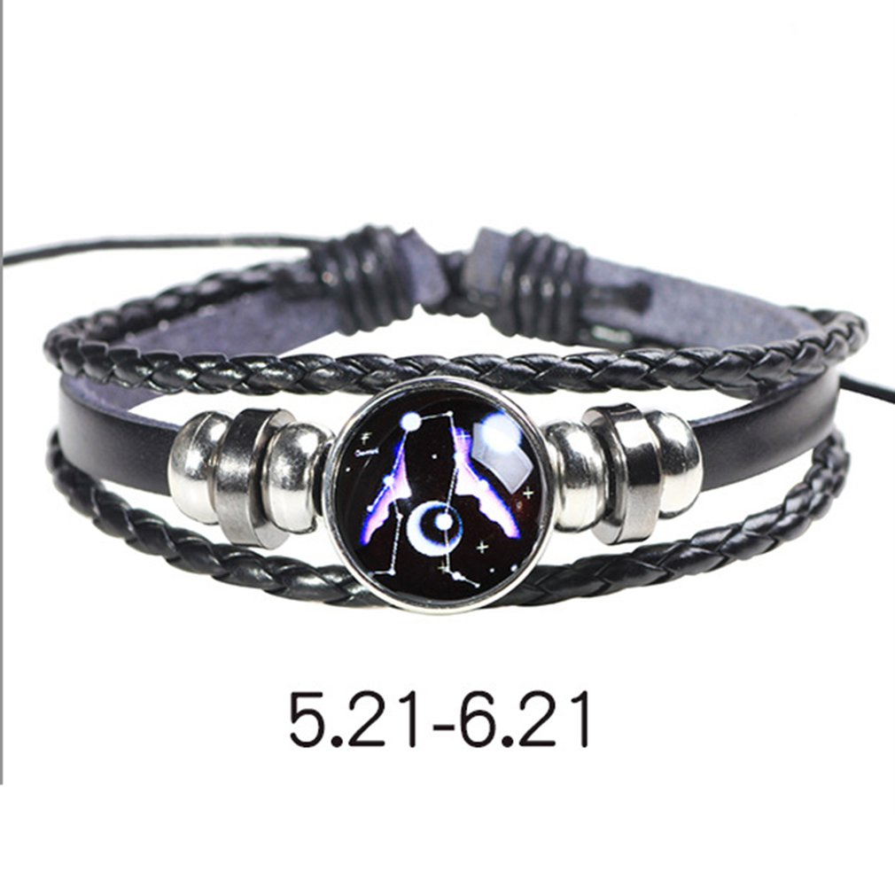 Braided Zodiac Star Sign Bracelet Womens Mens Adjustable Wristband Birthday Gift