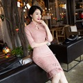 Новый Розовый Мода Короткие Замшевые Женщины Cheongsam Dress Китаянки элегантный Qipao Новинка Sexy Dress Размер M, L, XL, XXL 3XLF103030