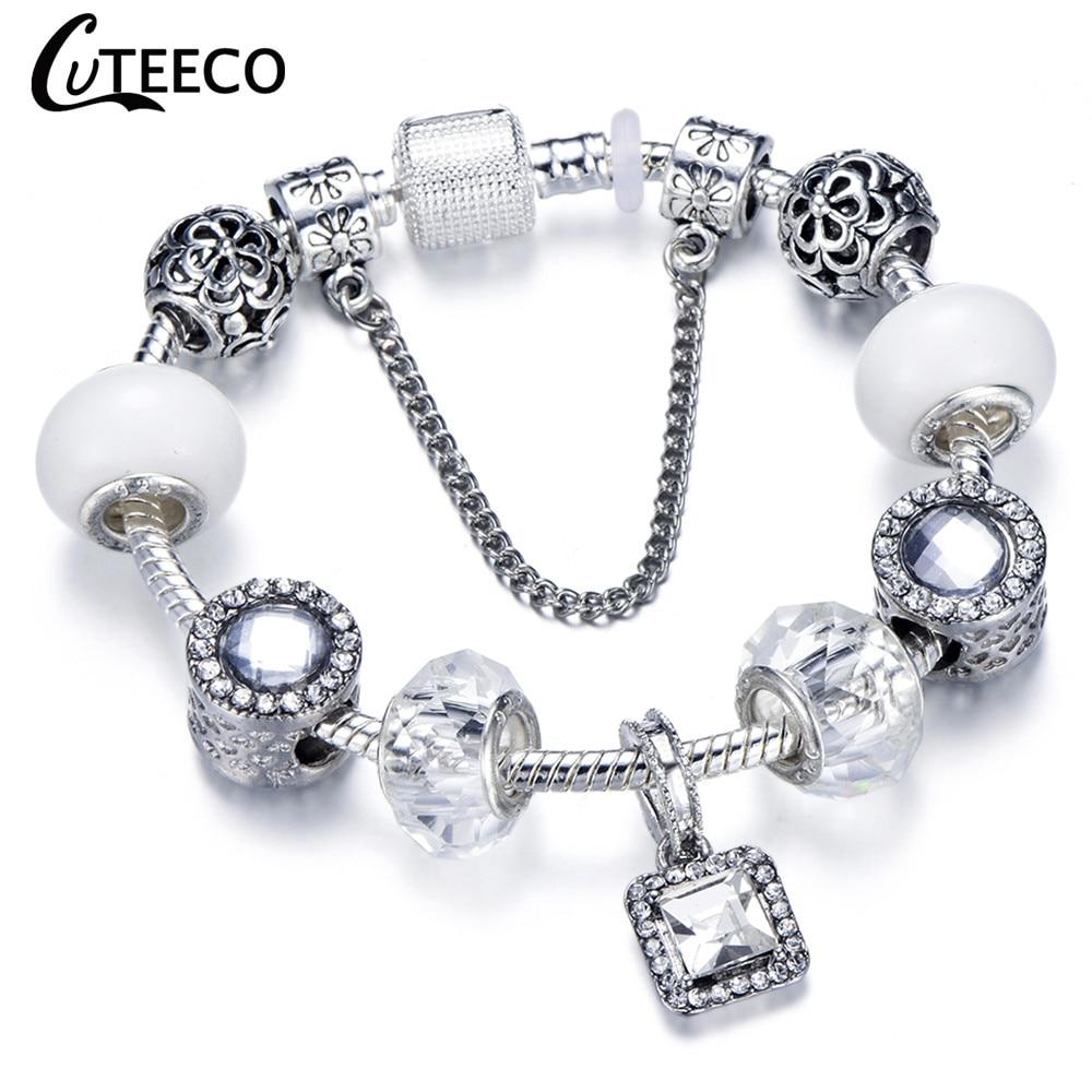 CUTEECO 925, модный серебряный браслет с шармами, браслет для женщин, Хрустальный цветок, сказочный шарик, подходит для брендовых браслетов, ювелирные изделия, браслеты - Окраска металла: AD0723