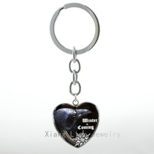 Geekery Black Raven heart pendant keychain Winter is Coming vintage steampunk Raven case for key chain ring H05(China)