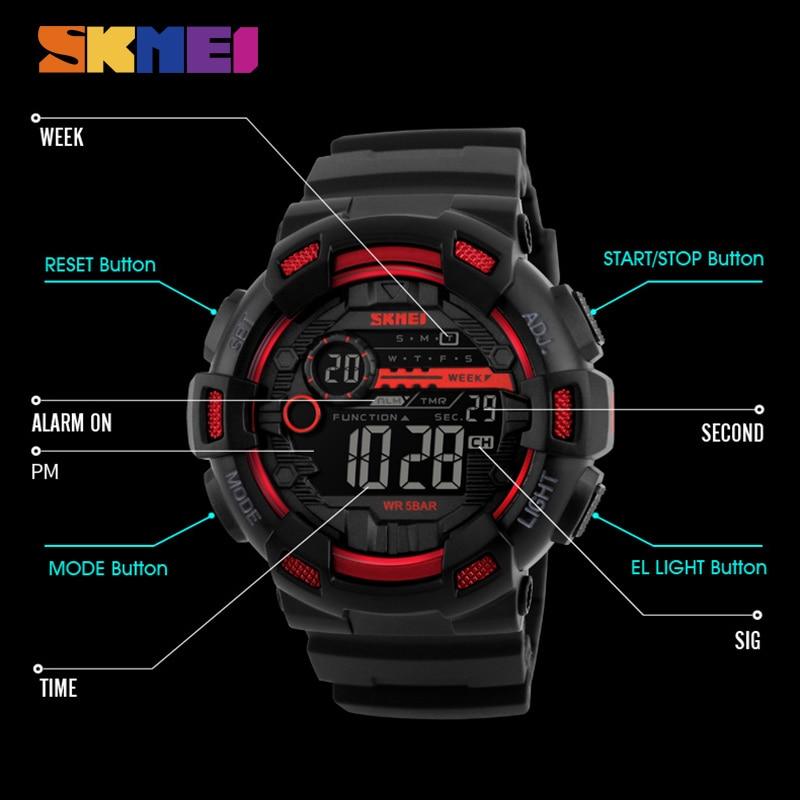SKMEI Hombres Relojes Deportivos 50 M Impermeable Luz de Fondo LED - Relojes para hombres - foto 5
