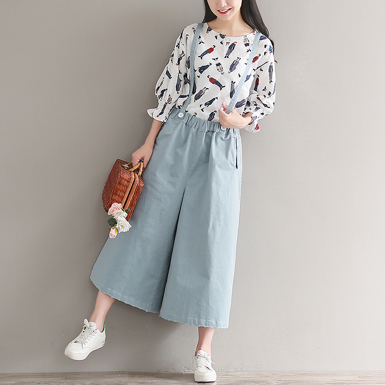 2019 Spring Autumn Women Fashion High Waist   Wide     Leg     Pants   Female Casual Loose Calf-Length   Pants   Blue Solid All-match Trousers