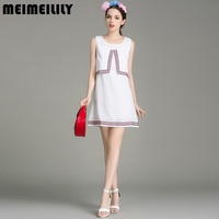 Summer New Folk Embroidery Sleeveless A Line Skirt To Show Thin Chiffon Loose Connect Dress Skirt