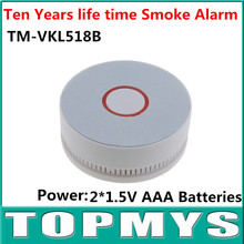 10PCS/Lot Battery-Operated Photoelectric Indoor Smoke alarm TM-VKL518B Smoke detector with LED and buzzer alarm use AAA battery