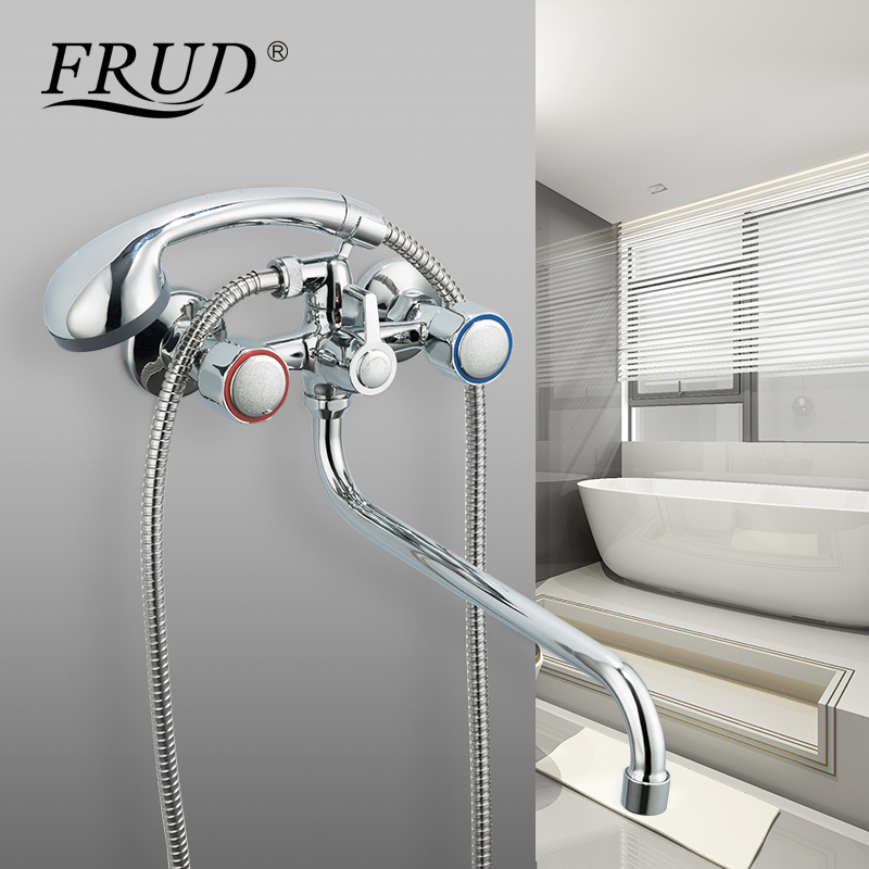 FRUD Bathtub Faucet Bathroom Waterfall Shower Faucet Chrome Wall Mounted Bath Faucet Hot And Cold Faucet Mixer Taps