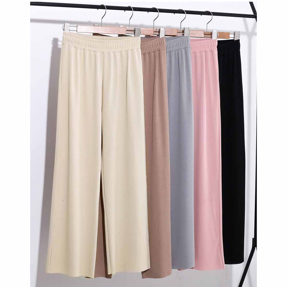 Loose Women Summer Straight Trousers Wide Leg High Waist Pants Solid Colors Long Casual Trousers