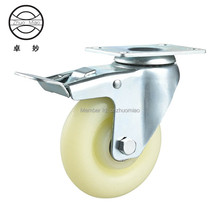 1PZ 3 inch medium duty nylon PP double bearing universal caster with brake 2 double bearing medium duty black radlamelle furniture universal caster durable pu castors sofa casters chair fast pulley