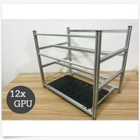 12 GPU Stackable Crypto Coin Aluminum Open Air Frame Mining Miner Rig Case New Computer Mining