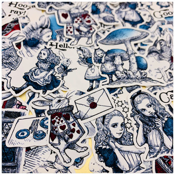 40Pcs Creative Daydream Alice Stickers Junk Journal Diary Planner Sticker Scrapbooking Decorative Sticker DIY Craft Photo Album image