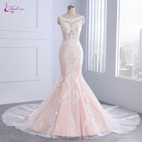Waulizane Luxury Appliques Lace Scoop Mermaid Wedding Dresses Sleeveless Unique Embroidery Court Train Bridal Gowns With