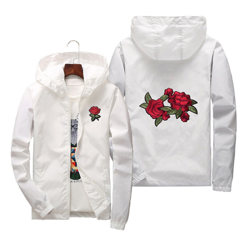 Women's Hooded   Jackets   2018 Summer Women   Basic     Jackets   Coats Embroidery Rose Causal Men windbreaker Lightweight Bomber Famale