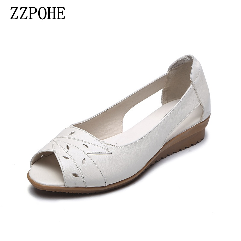 ZZPOHE Summer Female Shoes Woman Leather Soft low-heel Sandals Women Fashion Causal Comfortable big size Sandals 35-41