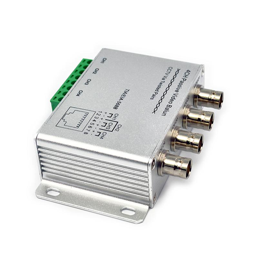 4 Way UTP 4 Channels Passive Video Balun Transceiver Cat5 BNC CCTV ...