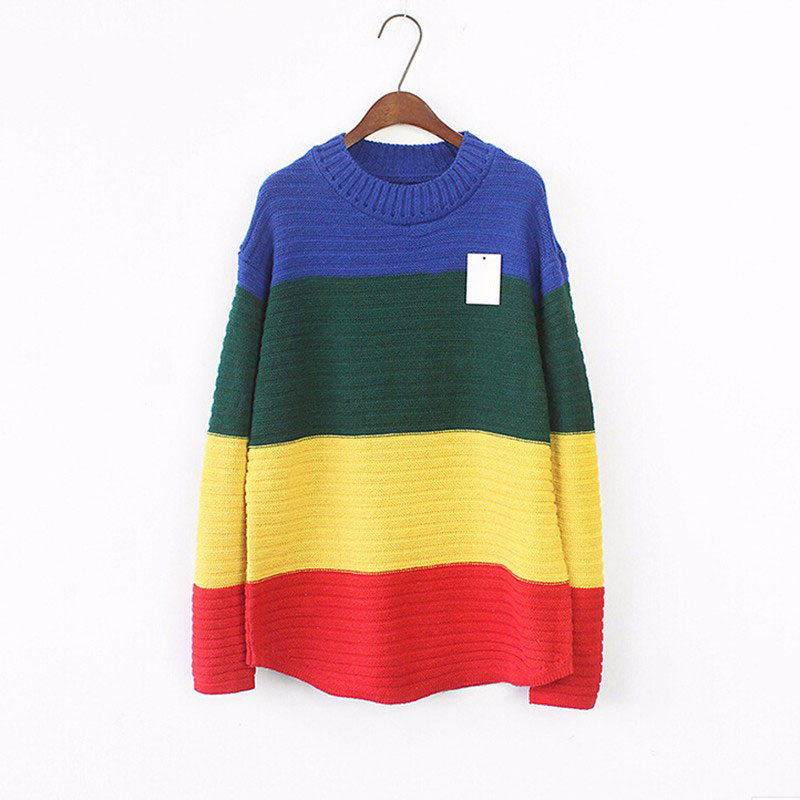 49bf04dcee 2018 Chic Females Sweaters Striped Harajuku Pullovers Crocheted Womens  Sweater Color Gradient Rainbow O Neck Top SWD0351 45-in Pullovers from  Women s ...