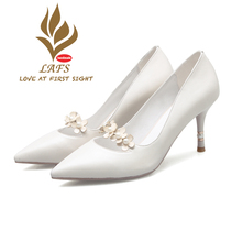 SexeMara 2017 Spring Autumn Sweet Genuine Leather Women  Pumps Soft Comfortable High Heel Shoes