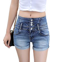 #3017 Short Denim Jeans Women Fashion Hollow Out Mid Waist Button Summer 2019 Thin Skinny Hot Plus Size