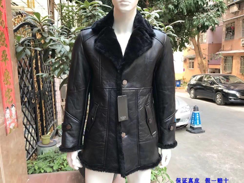 Manteau Noir Homme Hommes Qualité Haute 2018 Laine Mouton Veste De Formelle D'hiver Vêtements Cuir Peau Doublé En Pour Cachemire Véritable Cisaillement m0wnO8vN