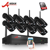Plug And Play 8CH NVR Wireless CCTV System 2TB HDD 720P HD H 264 Vandalproof Dome