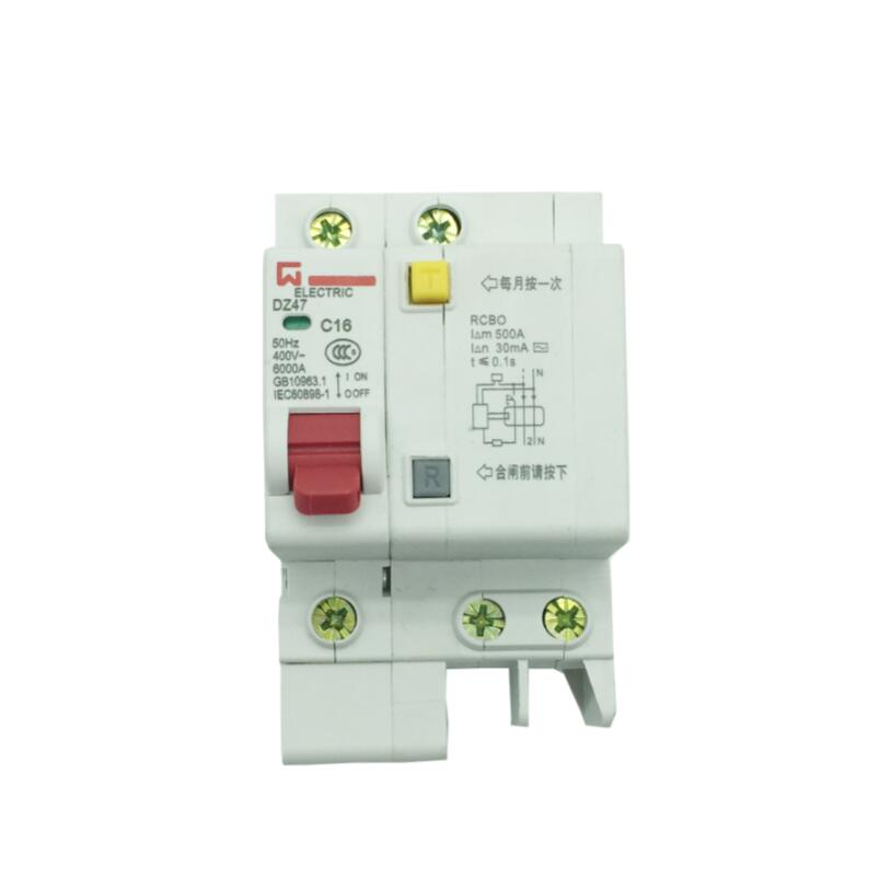 DZ47LE 1P+N 16A 220 380V Small earth leakage circuit breaker DZ47LE-16A Household leakage protector switch RCBO wholesale
