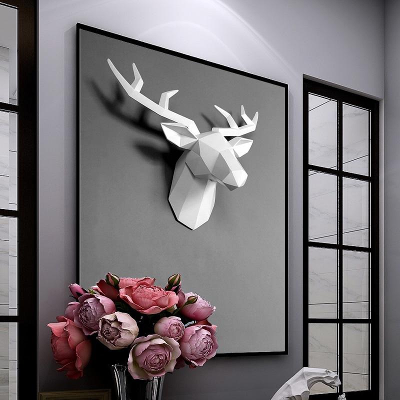 Nordique décoration de la maison résine géométrique tête de cerf décoration murale salon tenture murale en trois dimensions pendentif animal