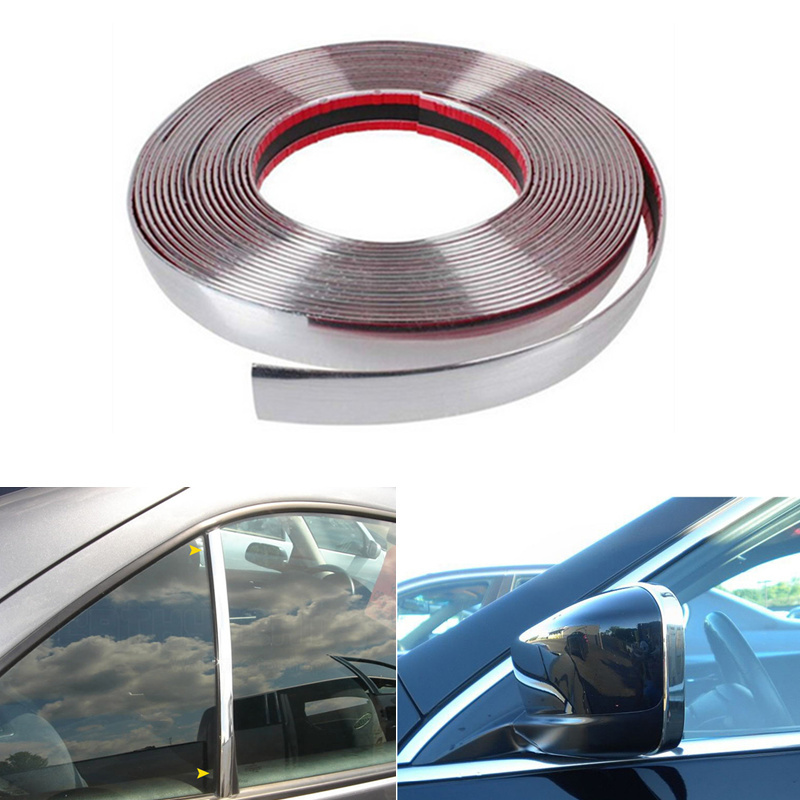 15 m Car Window Trim Strip Chrome Silver Decoration Moulding Trim Strip Tape Universal PVC Anti-Collision Strip DIY Car Body Trim Sticker 6 mm * 15 m