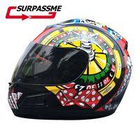 Motorcycle Poker Helmets Full Face Visor lens Motor Helmet Dot Cascos Para Winter Summer Mens Scooter Motorbikes Off road