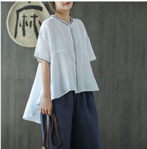 Placket embroidery stand collar short sleeve irregular hem doll shirt top 2018 New mori girl