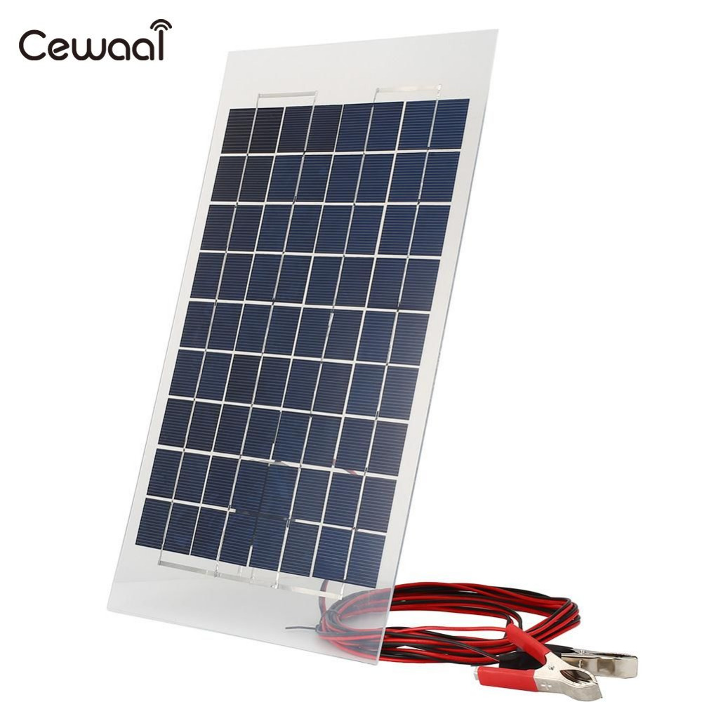 Cewaal portable 38*22*0.4 cm Outdoor 18V 10W Solar Panel Bank DIY Solar Charger Panel External for Car W/Crocodile Clips