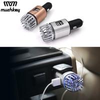 2 in 1 Car Air Purifier Air Freshener Dual USB Car Charger Mini Auto Car Fresh Air Ionic Purifier Oxygen Ozone Ionizer Cleaner