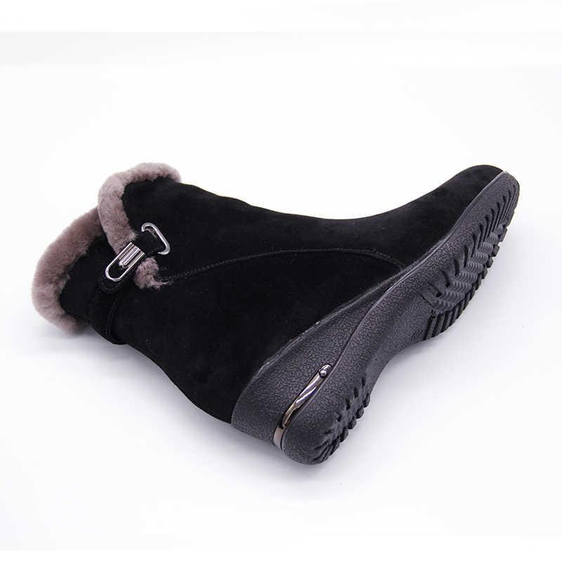 2018 חורף חדש חם צמר פרווה קרסול מגפי אמיתי צמר מלא תבואה עור ארוך בפלאש שלג מגפי נשים באיכות גבוהה טריזי נעליים