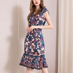 Image 2 - משרד ירך חבילת שמלת 3xl אביב 2019 גבירותיי נשים הברך אורך פרח מסיבת שמלה בתוספת גודל בציר רקמת שמלות קיץ