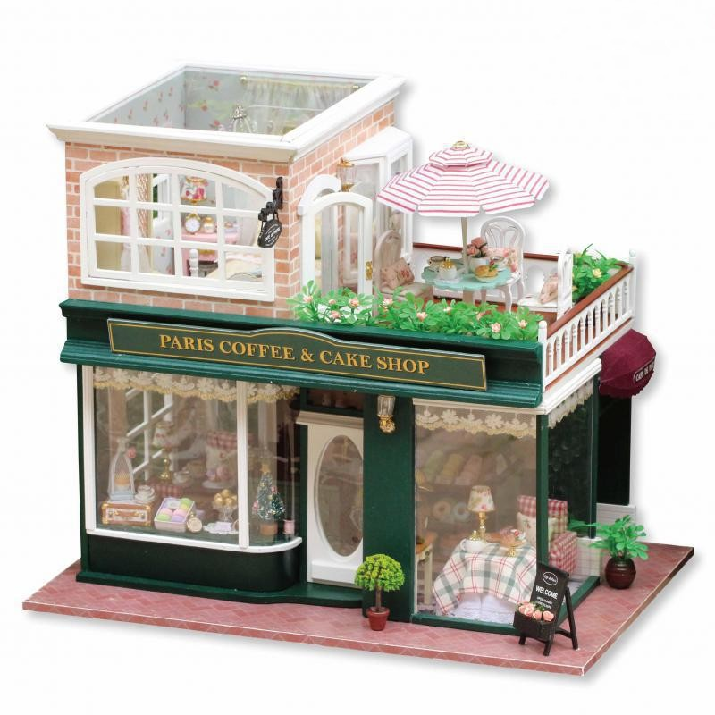 2016 hot sale home decoration crafts wooden doll houses miniature diy dollhouse furniture kit villa led cheap wooden dollhouse furniture