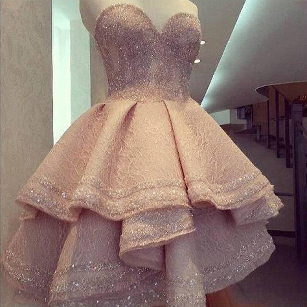 Hi Low Muslim   Evening     Dresses   2019 Ball Gown Sweetheart Lace Beaded Formal Islamic Dubai Saudi Arabic Long Elegant   Evening   Gown
