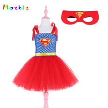 Red Superman Girls tutu Dresses with Mask Halloween Christmas Kids Party Dresses Cosplay Costume Princess Baby Girls clothing baby girls clothes christmas carnival party costumes vestido red children dresses with feather christmas new year tutu dresses