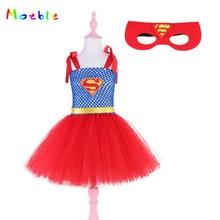 Superman Meninas Vestido com Máscara de Halloween Festa de Natal para Crianças Vestidos de Cosplay Traje Da Princesa Do Bebê Vestido Da Menina de Vestido De Festa