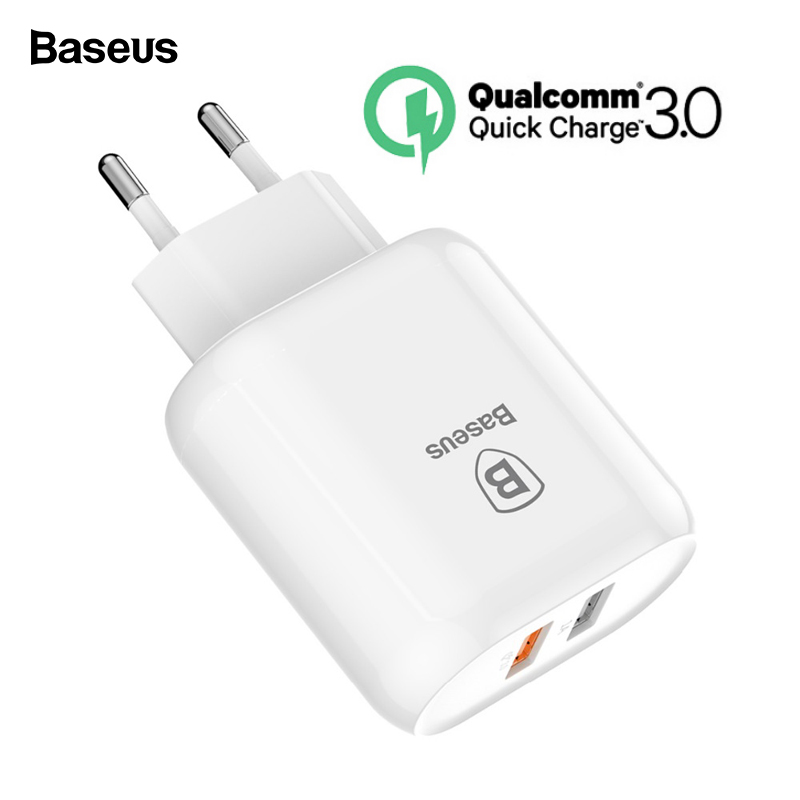 Baseus 23W Quick Charge 3.0 USB Charger For iPhone Samsung Xiaomi QC3.0 5V/3A Fast Charging EU Travel Wall Mobile Phone Charger Зарядное устройство