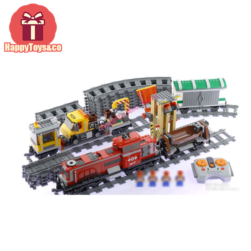 Legoing City series 3677 898Pcs Red Cargo Train toys For Children Gift 02039 Building Blocks Set Compatible Education