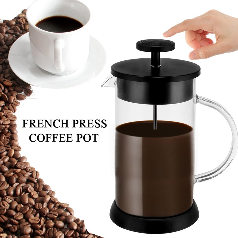 French Press Coffee Tea Pot Glass Manual Coffee Maker Brewer Filter System Home Office Espresso Accessories 1000ml bodum travel press set coffee maker off white