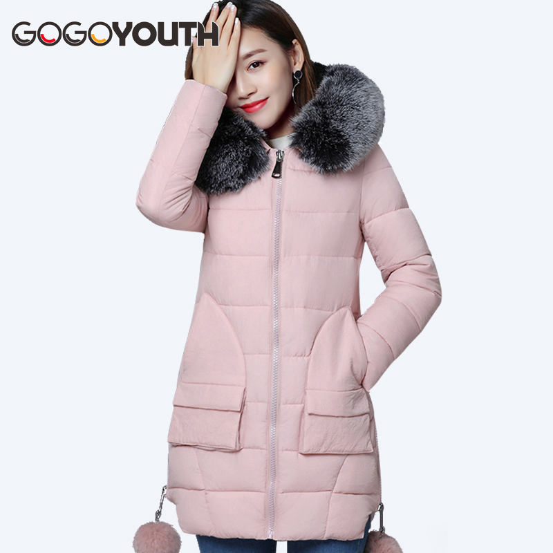 Cotton Padded Winter Jacket Women 2017 Thick Warm Parkas Winter For Women Hooded Fur Cheap Female Jacket Winter Coat For Snow