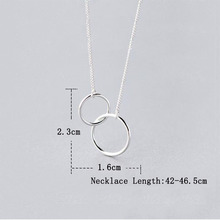 Anenjery Double Circle Interlock Clavicle Short Necklace 925 Sterling Silver Necklace For Women collares erkek kolye S-N191